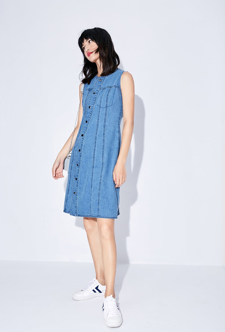 MINIMALISM DENIM SLEEVELESS KNEE-LONG DRESS - impaviid