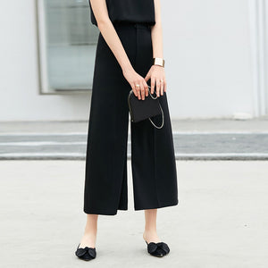 MINIMALISM WIDE LEG CROPPED PLEATED PANTS - impaviid