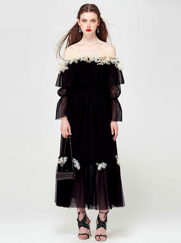 OFF SHOULDER BLACK MESH MAXI DRESS WITH TULLE FLOWERS