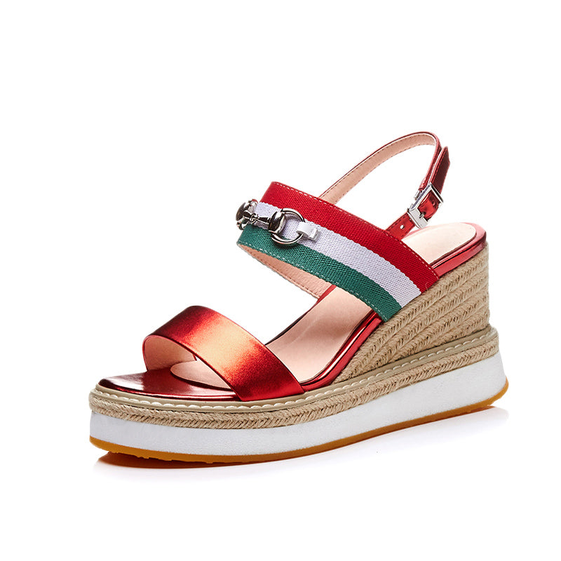 STRAW WEDGES ON A PLATFORM CRUELTY-FREE - impaviid