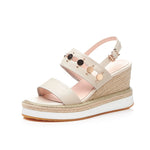 EMBELLISHED STRAW WEDGES CRUELTY-FREE - impaviid