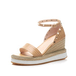 STUDED STRAW WEDGES CRUELTY-FREE - impaviid