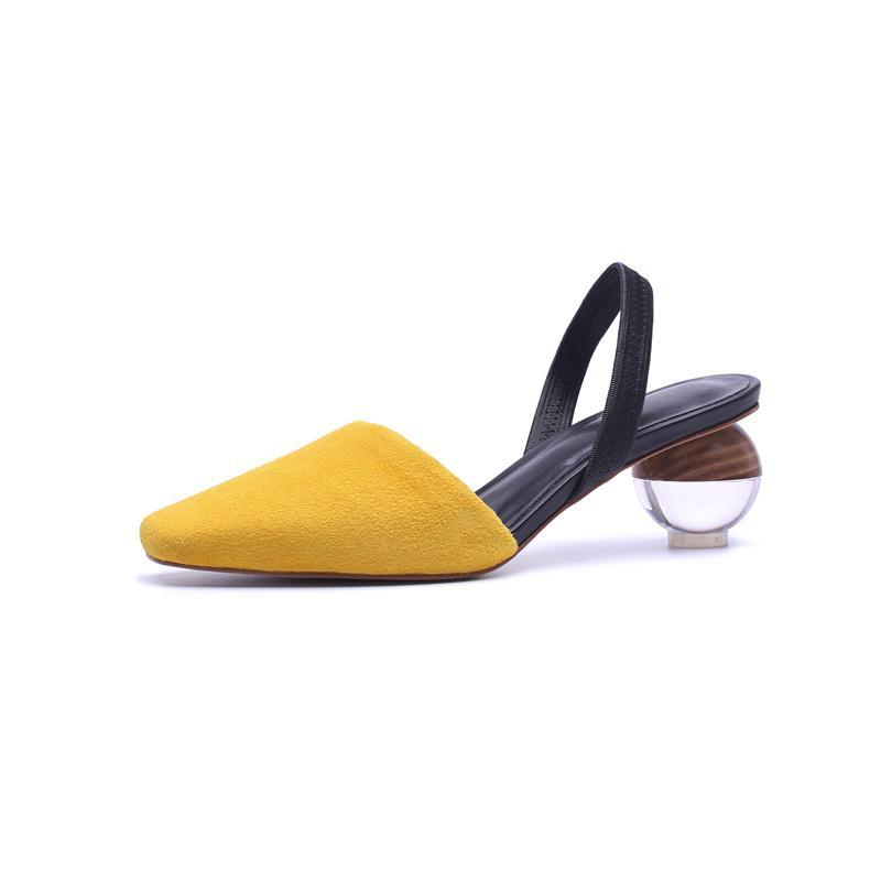 SLINGBACK SANDALS ON A ROUND GLASS HEEL CRUELTY-FREE