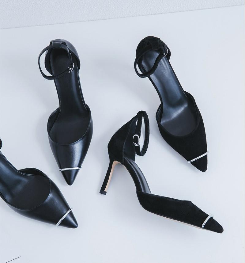 POINTED TOE HEELS WITH AN ANKLE STRAP CRUELTY-FREE - impaviid