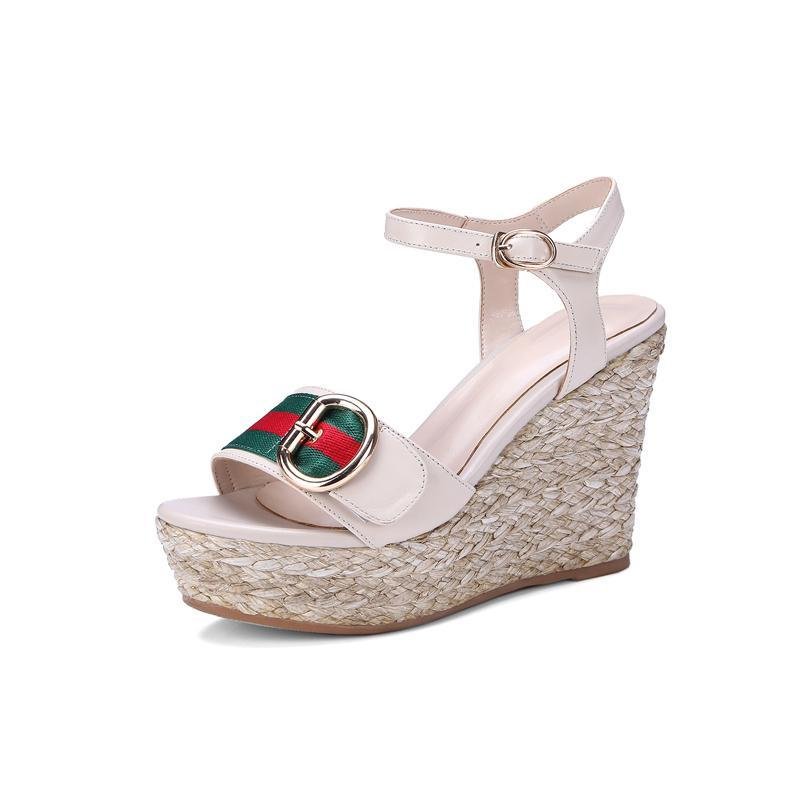 WATERPROOF STRAW PLATFORM WEDGES CRUELTY-FREE - impaviid
