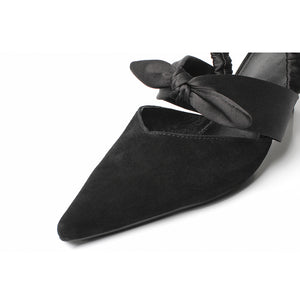 POINTED TOE MULES WITH A BOW AND AN ELASTIC HEEL STRAP CRUELTY-FREE - impaviid