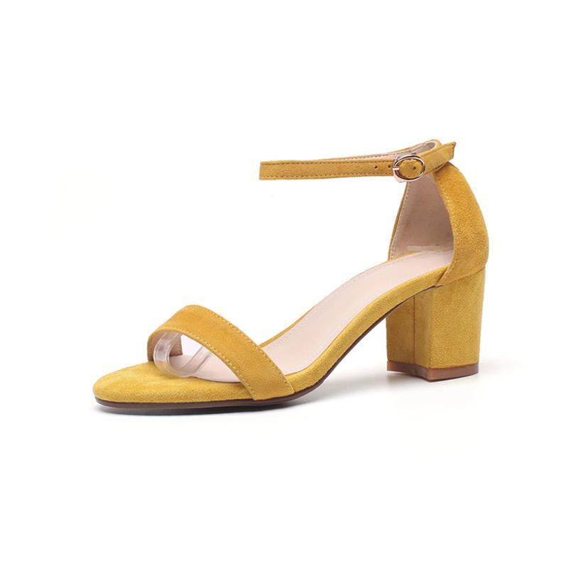 SUEDE SANDALS SQUARE HEEL CRUELTY-FREE MULTIPLE COLORS