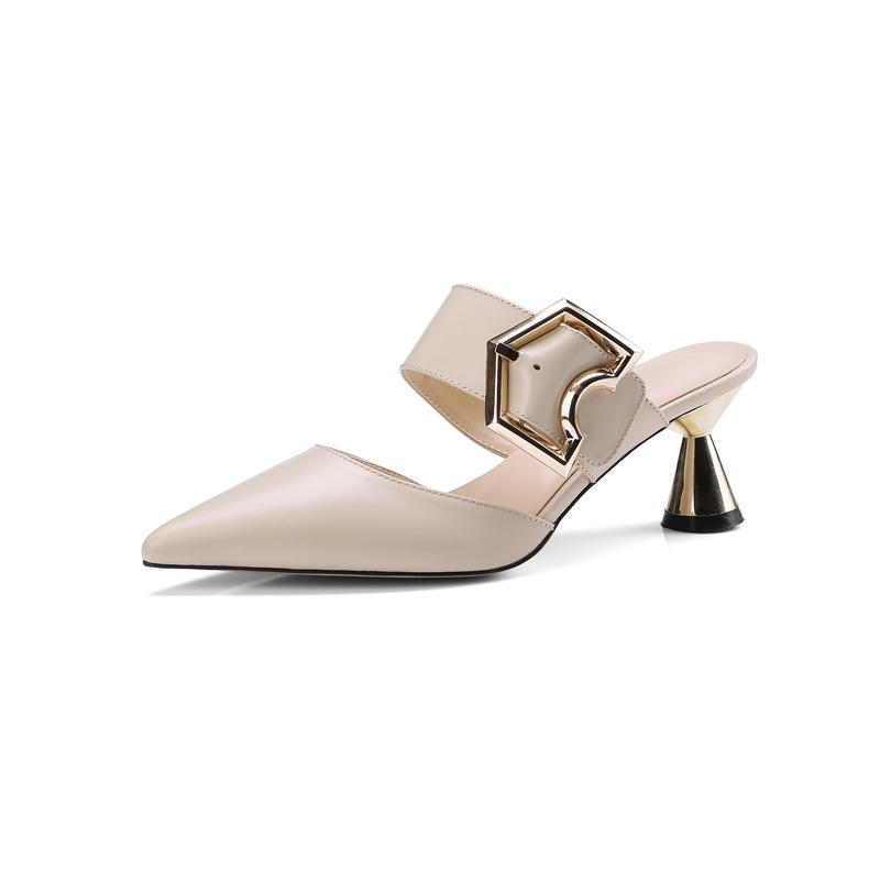 POINTED TOE MULES WITH A BUCKLE CRUELTY-FREE - impaviid