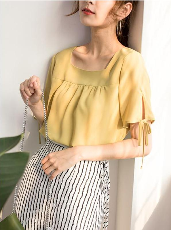 SQUARE NECKLINE CHIFFON BLOUSE KOREAN DESIGN - impaviid