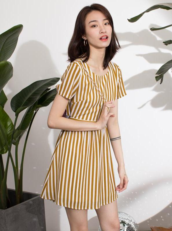 YELLOW STRIPED  O-NECK MINI DRESS KOREAN DESIGN