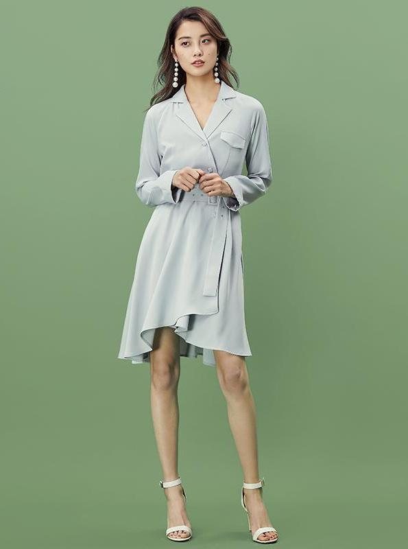 BABY BLUE WRAP SHIRT DRESS - IMPAVIID