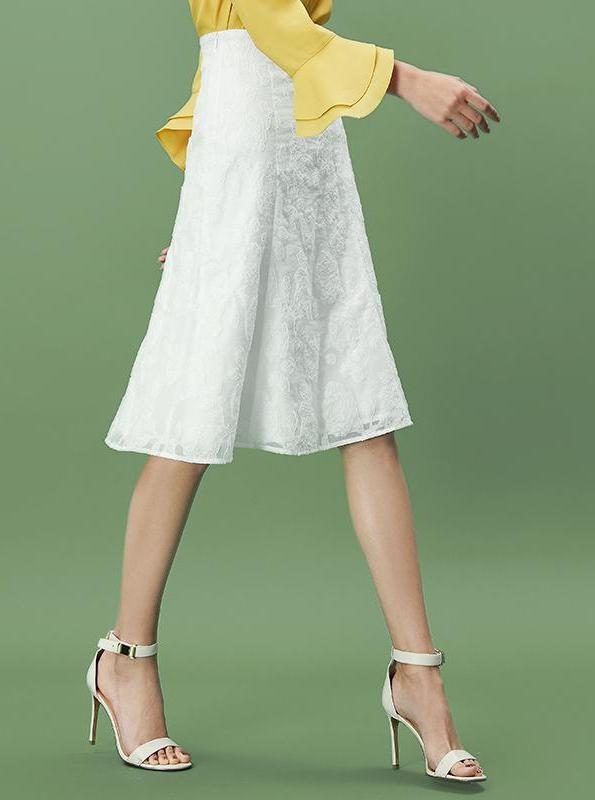 A-LINE WHITE LAYERED SKIRT - IMPAVIID