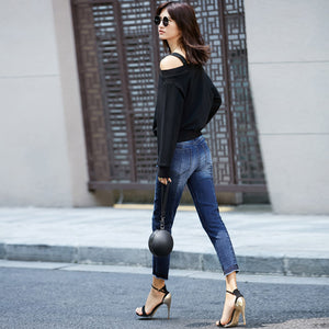 TWO TONED ANKLE LENGTH SKINNY JEANS KOREAN DESIGN
