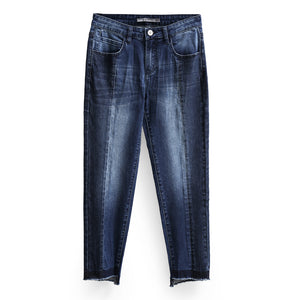 TWO TONED ANKLE LENGTH SKINNY JEANS KOREAN DESIGN - impaviid