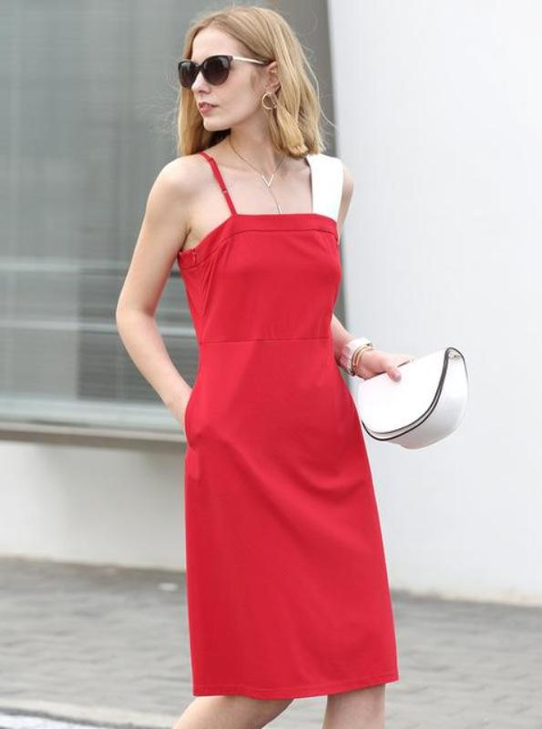 MINIMALISM A-LINE CONTRAST COLOR KNEE-LENGTH DRESS  -  impaviid