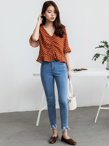SKINNY HIGH WAISTED RIPPED JEANS KOREAN DESIGN