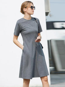 MINIMALISM CASUAL A-LINE JEARSY DRESS - impaviid