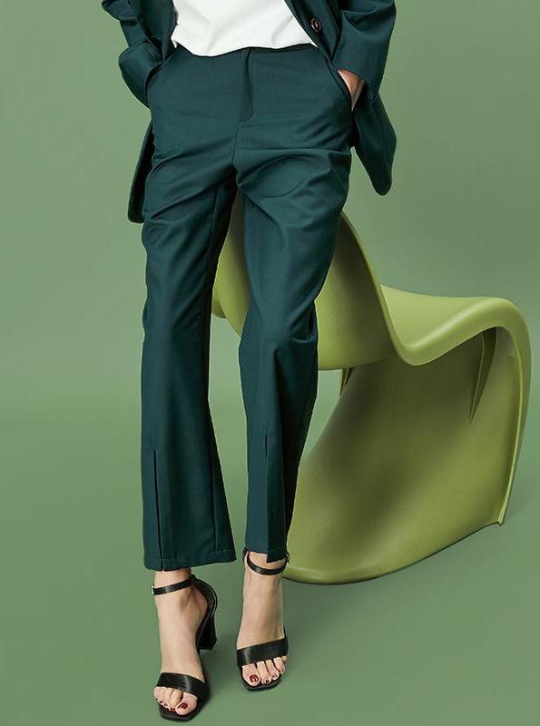 GREEN LOOSE OFFICE PANTS - impaviid