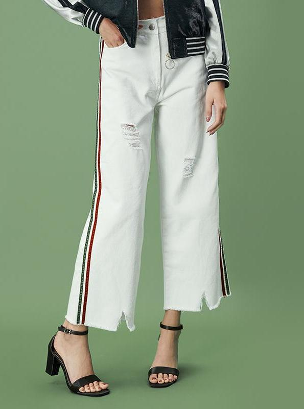 WHITE WIDE LEG CROPPED PANTS WITH SIDE STRIPES - impaviid