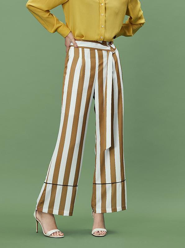 WHITE/YELLOW STRIPED WIDE LEG PANTS - impaviid