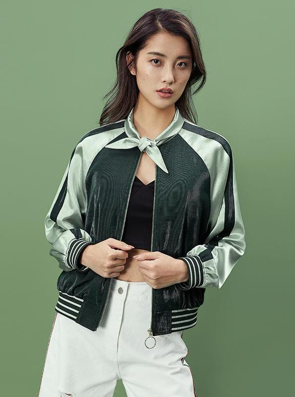 GREEN SATIN BOMBER JACKET - impaviid
