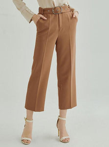 ANKLE LENGTH BROWN OFFICE PANTS - IMPAVIID