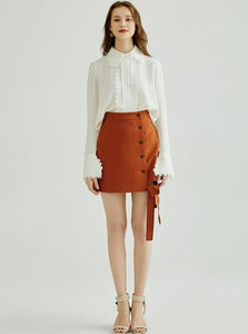 A-LINE MINI SKIRT MED SIDE BOW - IMPAVIID