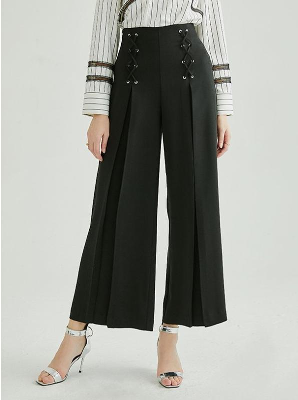 WIDE LEG CROPPED BLACK PANTS WITH DRAWSTRINGS - impaviid