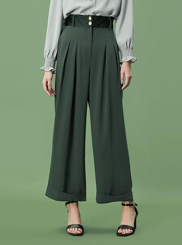 GREEN WIDE LEG PLEATED TROUSERS - impaviid
