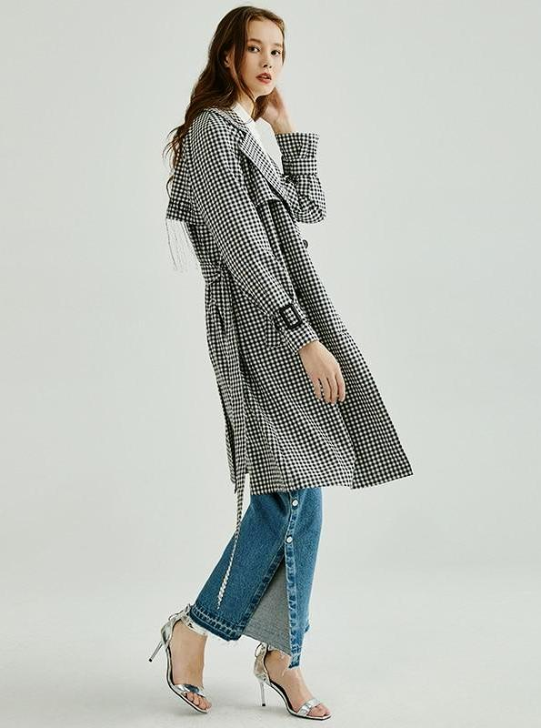 PLAID MIDI TRENCH COAT