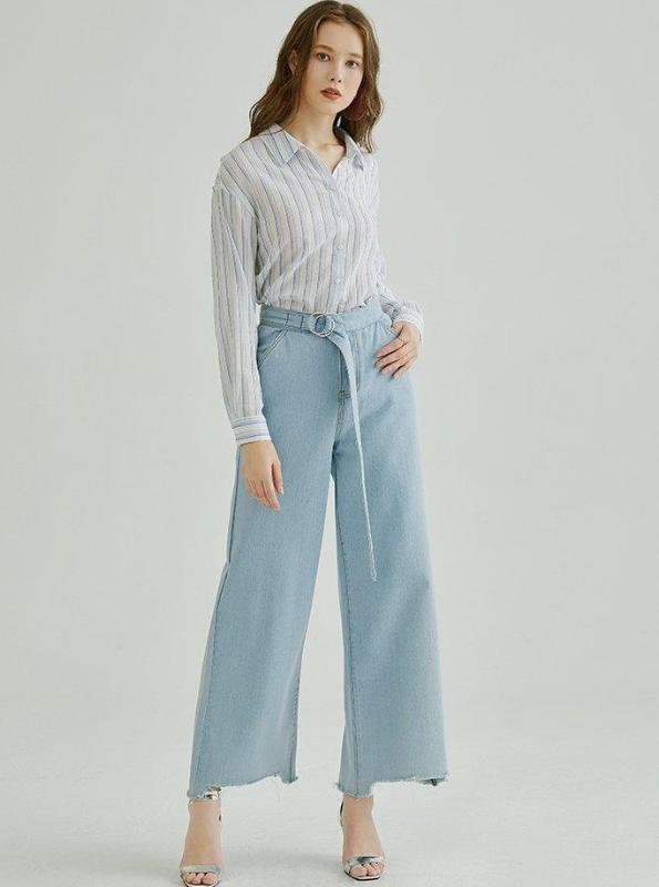 WIDE LEG CROPPED JEANS WITH BELT - impaviid