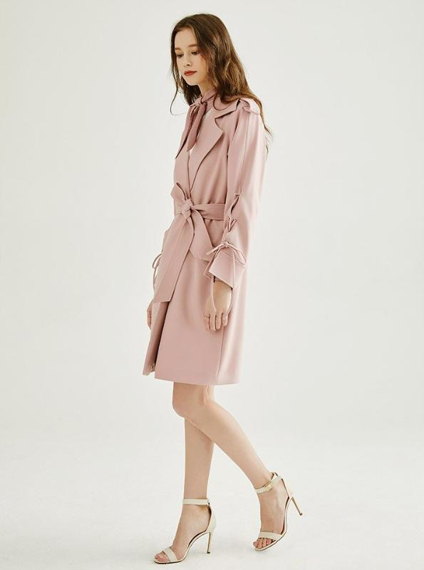 TRENCH-COAT MIDI ROSE