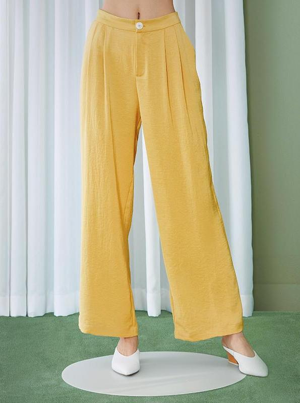 WIDE LEG YELLOW PLEATED PANTS - impaviid