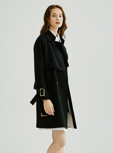 BLACK TWILL TRENCH COAT - IMPAVIID