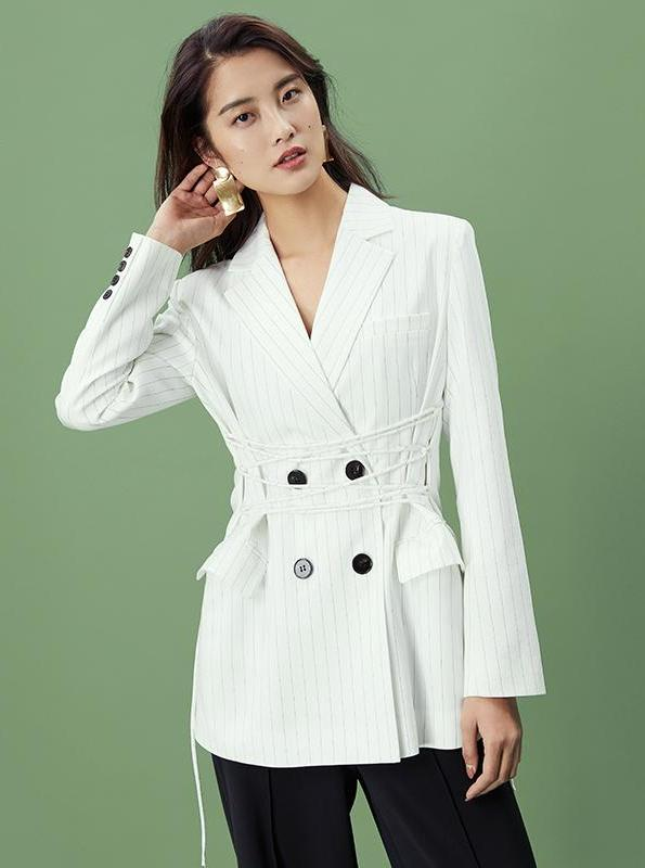 WHITE STRIPED LACED UP BLAZER - impaviid