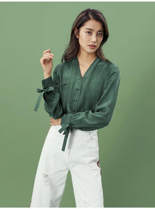 GREEN CASUAL BLOUSE AR BOW SLEEVES