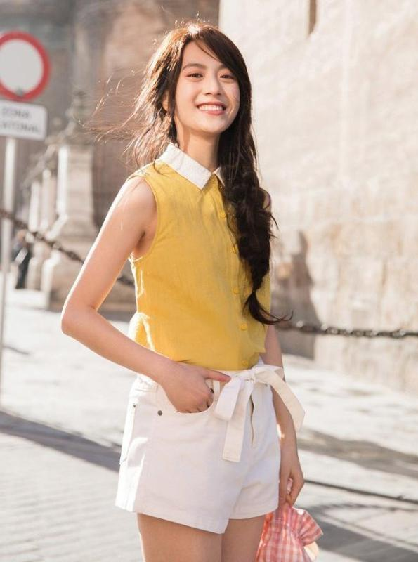 YELLOW SLEEVELESS TOP WITH A COLLAR JAPANESE DESIGN - impaviid