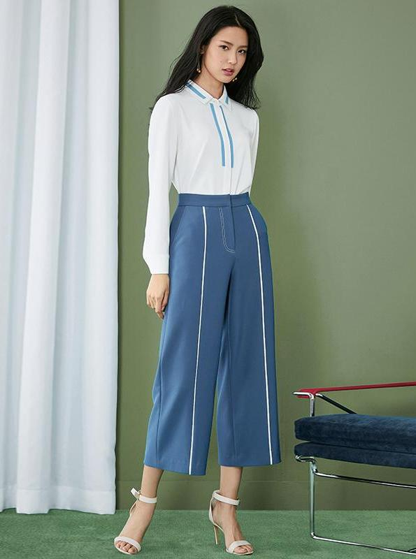 WIDE LEG STRIPED HIGH WAISTED PANTS - impaviid