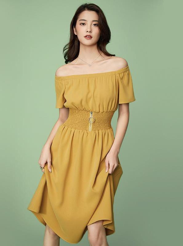 YELLOW MIDI DRESS WITH CORSET STYLED WAIST - impaviid