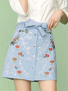 BLUE FLORAL EMBROIDERED MINI SKIRT - IMPAVIID
