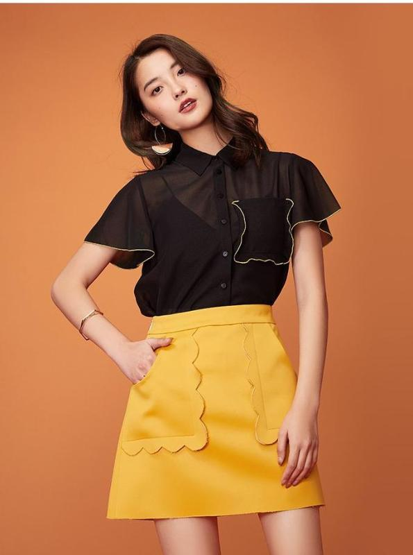 BLACK CHIFFON OVERSIZED BUTTONED UP TOP WITH YELLOW ACCENTS - IMPAVIID