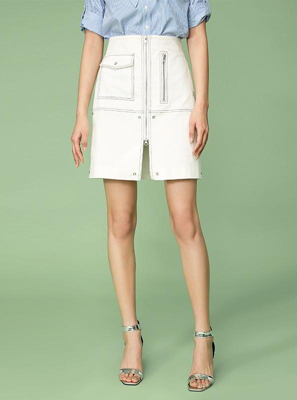 WHITE DENIM MINI SKIRT WITH ZIPPERS - impaviid