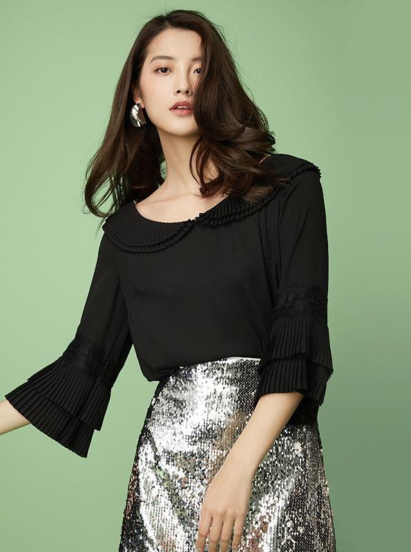 BLACK CHIFFON TOP WITH FLARE SLEEVES - IMPAVIID