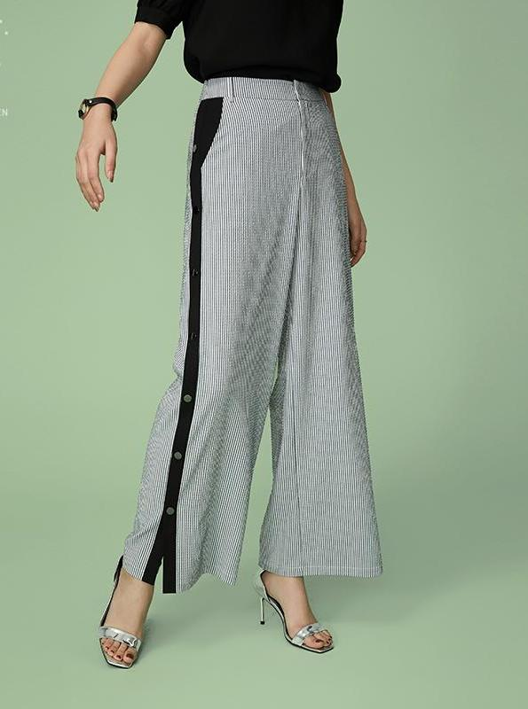 WIDE LEG STRIPED PANTS WITH BUTTONED UP TROUSERS - impaviid
