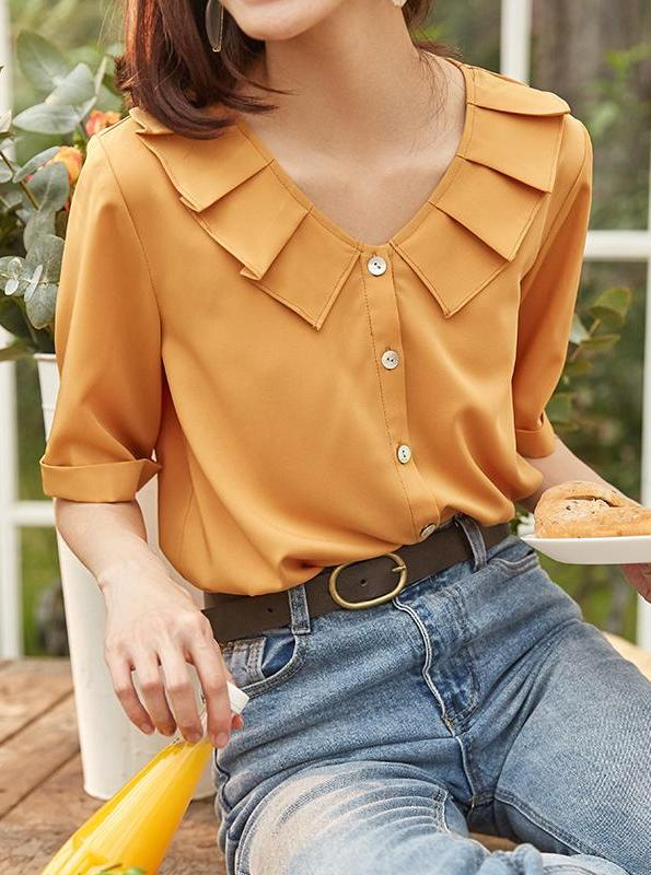 YELLOW RUFFLED CHIFFON QUARTER SLEEVE BLOUSE KOREAN DESIGN - impaviid