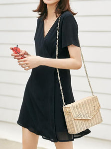 BLACK CHIFFON WRAP DRESS KOREAN DESIGN - IMPAVIID