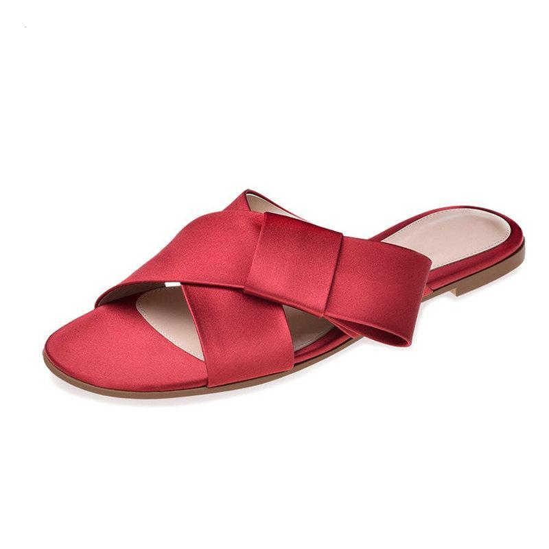 SATIN FLATS WITH A BOW CRUELTY-FREE - impaviid