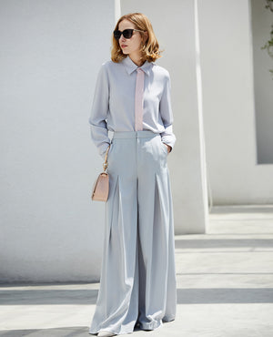 MINIMALISM CHIFFON BUSINESS BLOUSE WITH CONTRASTING PANEL - impaviid