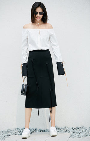 MINIMALISM MID-CALF STRAIGHT SKIRT WITH TASSELS - impaviid