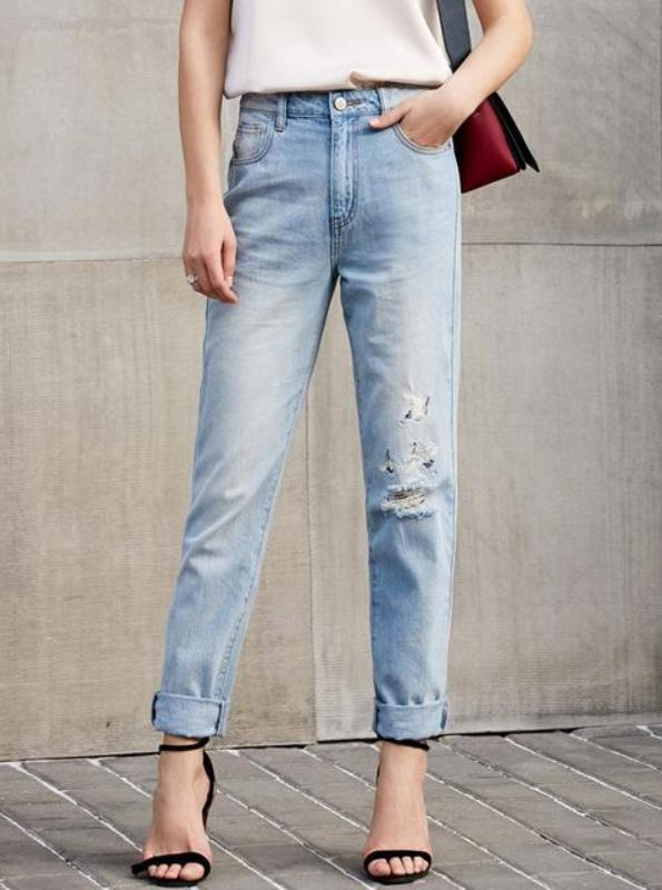 MINIMALISM CASUAL EMBROIDERED JEANS - impaviid